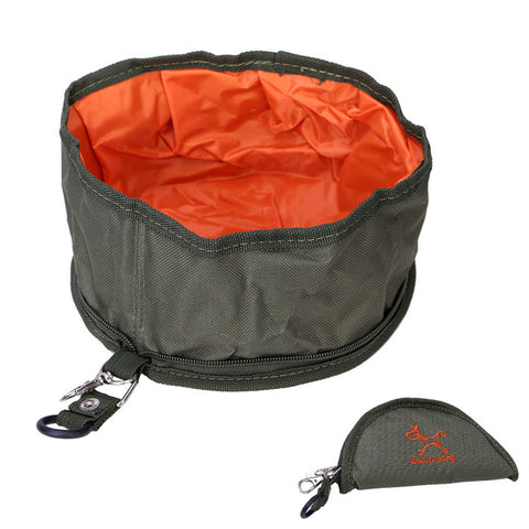Portable, Foldable Water/Food Bowl w/ Hook - Perfect For Traveling and On The Go Use