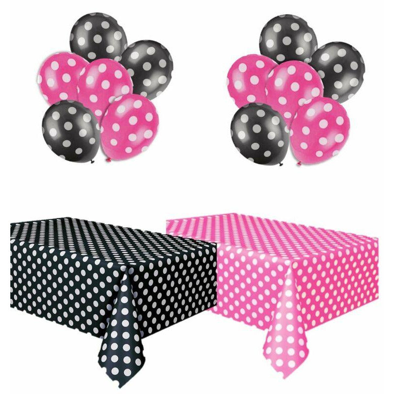 Polka Dot Plastic Tablecloth Hot Pink & White and Black & White, and Two Packages of Polka Dot Balloons