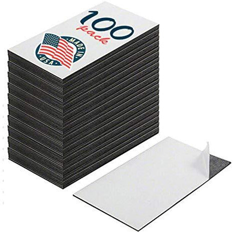 Self adhesive peel and stick business card magnets, extra strong, great promotional product value. pack of 100