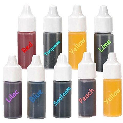 Soap Making Set - 9 Liquid Colors for Soap coloing Red Yellow Blue Lilac Peach Seafoam Yellow Turquoise and Lime 0.25-Ounce Each Color.