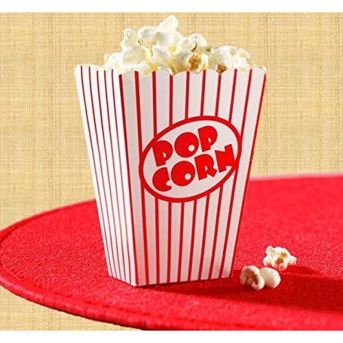 Movie Party Popcorn boxes-striped red and white