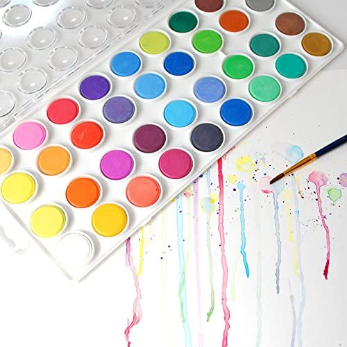 Watercolor Paint Set for Kids and Adults - Vibrant Watercolor Set with 36 Colors and 12 Paint Brushes - Art Supplies for Students and Professional Artists