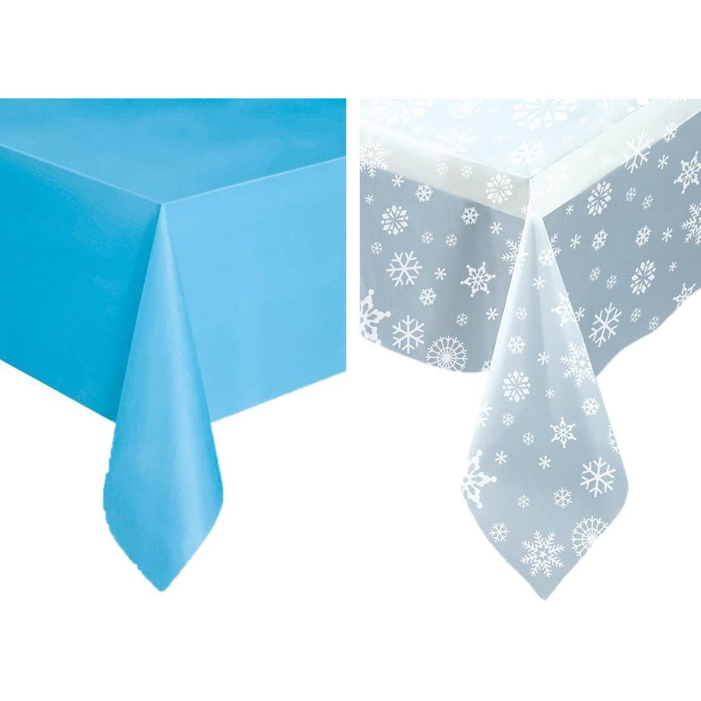 Snowflakes Winter Plastic Tablecloth Set - One Clear Snowflakes Table Cover and One Solid Light Blue Plastic Tablecloth, Great for Holiday Frozen Party. Tablecover.