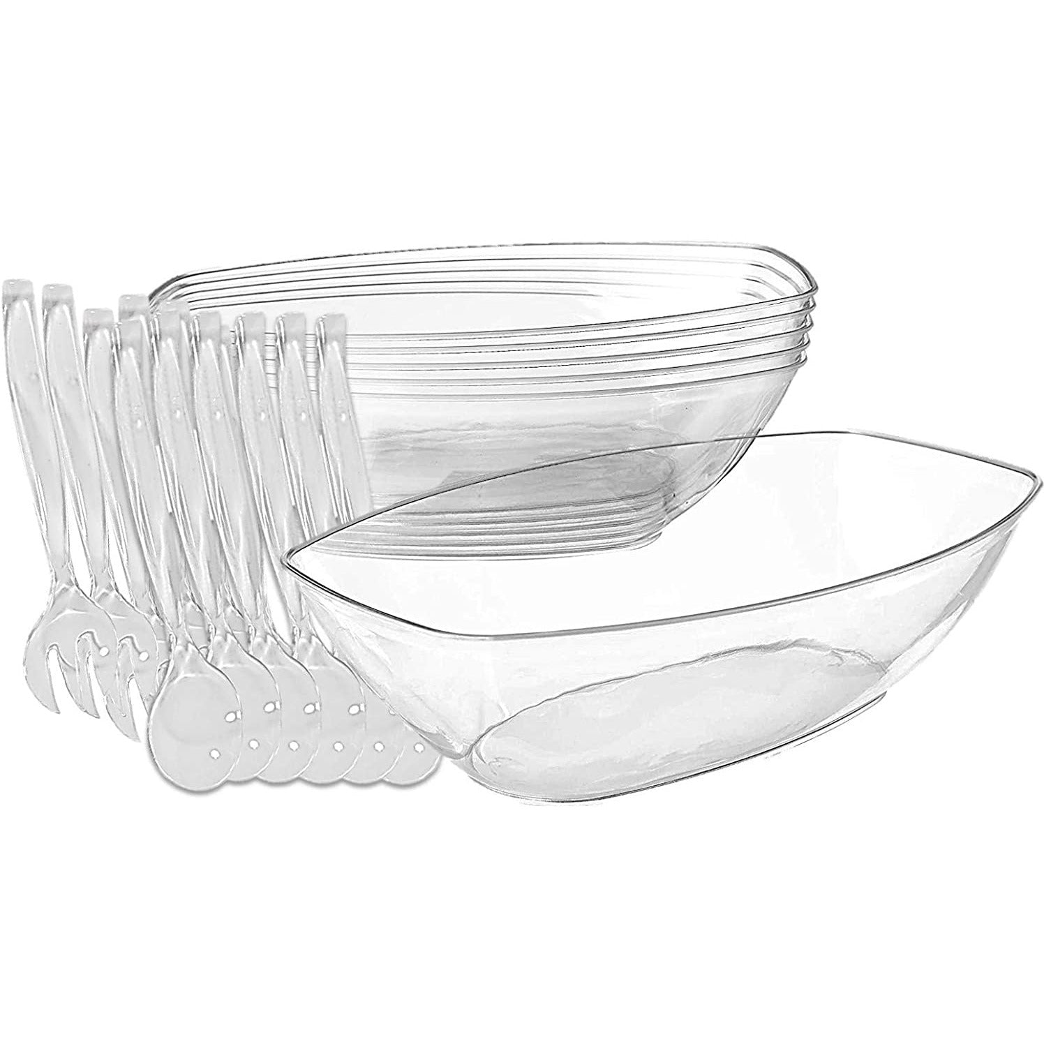 Clear Plastic Serving Bowls - 6 Count, With 6 Disposable Plastic Serving Fork And 6 Plastic Serving Spoons