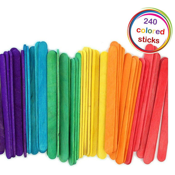 Popsicle Wood Colored Craft Stick 4-1/2-Inch - Pack of 240