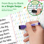 Dry Erase Behavior & Chore Chart – Magnetic White Board Reward & Chores Chart Set for Multiple Kids + 6 Colored Markers with Eraser Caps – Family, Teacher, School & Homeschool Supplies By Kedudes