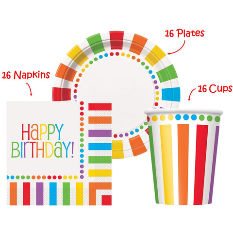 "Rainbow Birthday Party set Supplies for 16 guests - 16 Plates 9"" 16 Cups 9"" and 16 Napkins"