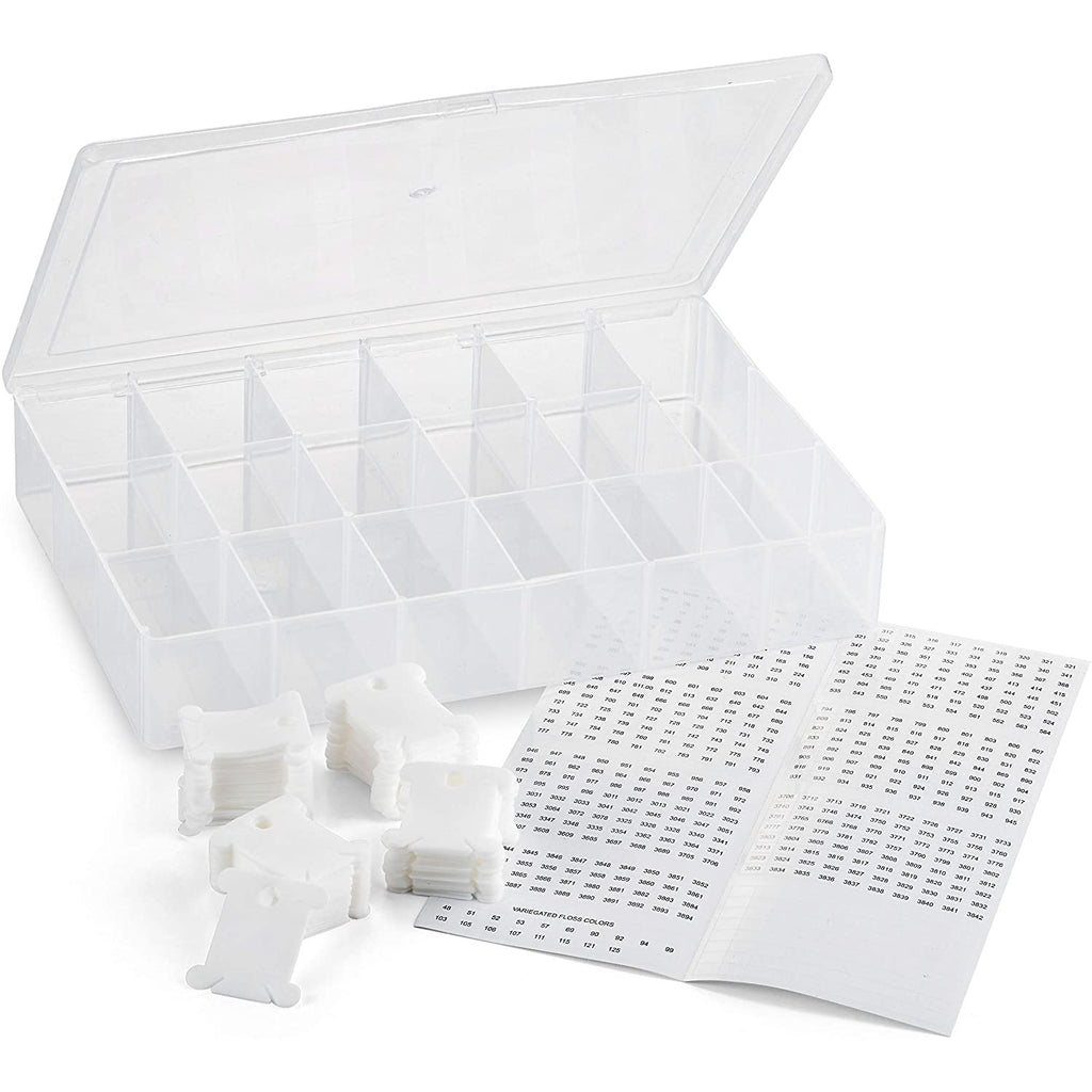 Embroidery Floss Organizer Box - 17 Compartments with 100 Hard Plastic Floss Bobbins and 640 Floss Number Stickers. (Full Set)