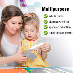 Flexible Mirror Sheets with Self Adhesive Back, 6 x 9 Inches,, Non Glass, Easy to Use and Cut to Size.