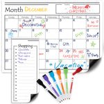 "17"" x 12"" Magnetic Dry Erase Calendar for Refrigerator + 6 Markers & Magnetic Shopping List"