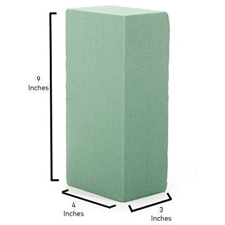 Premium Floral Foam Bricks Green Styrofoam Wet Foam Blocks 2.87 x 3.87 x 8.87 inches - 6/Pkg Green