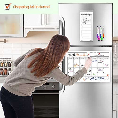 Magnetic Dry Erase Calendar for Refrigerator + 6 Markers + Magnetic Shopping List