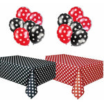 Polka Dot Party Set, Includes 1 Red Tablecloth, 1 Black Tablecloth, 6 Red Balloons and 6 Black Balloons