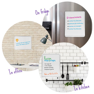 11'' x 14'' Magnetic Dry Erase Whiteboard. Includes 6 Magnetic Dry Erase Markers, Assorted Colors