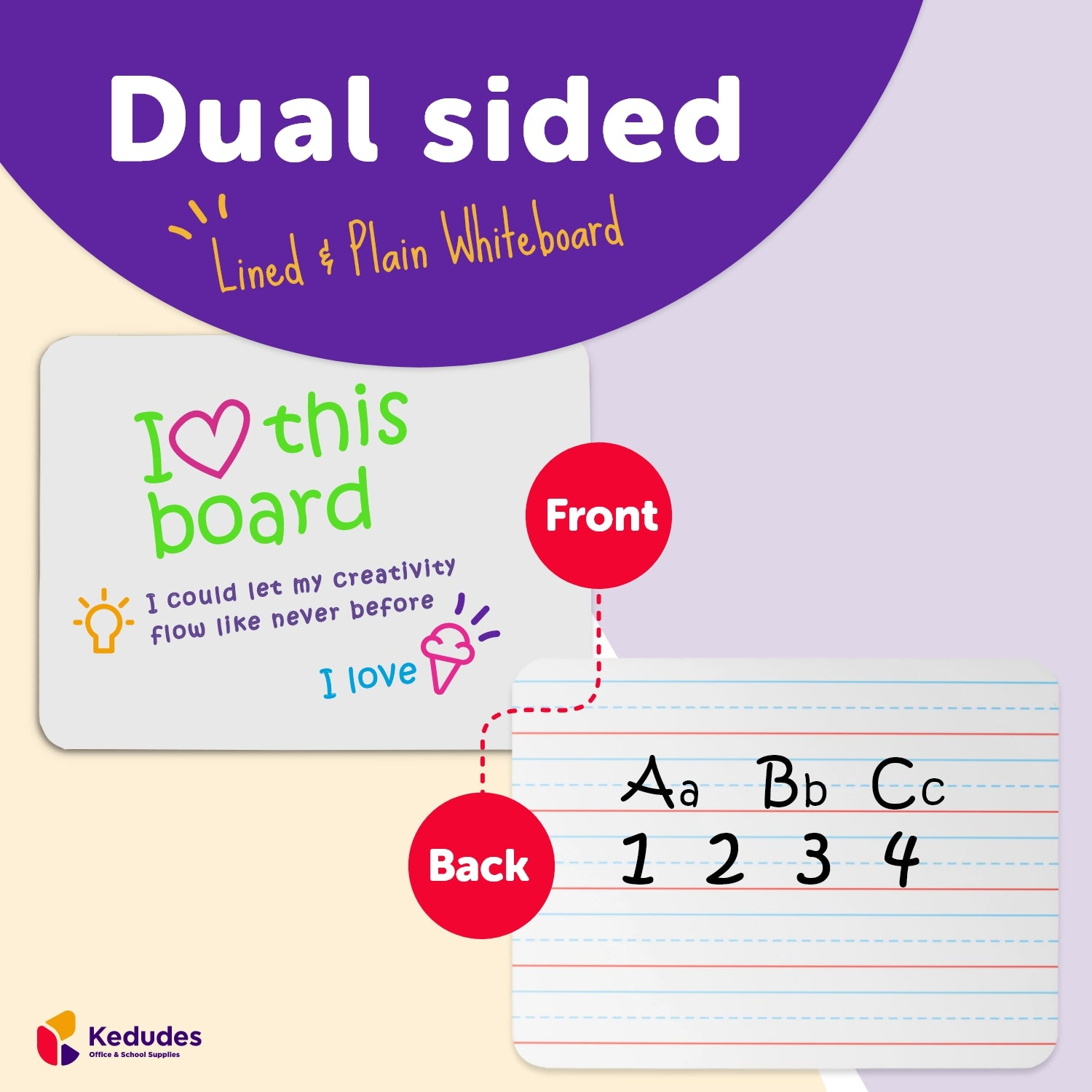Quality Ruled Dry Erase Lapboard. Great for Kids Learning Writing. with 6 Magnetic Markers. 9-Inch X 12- Inch (Lined)