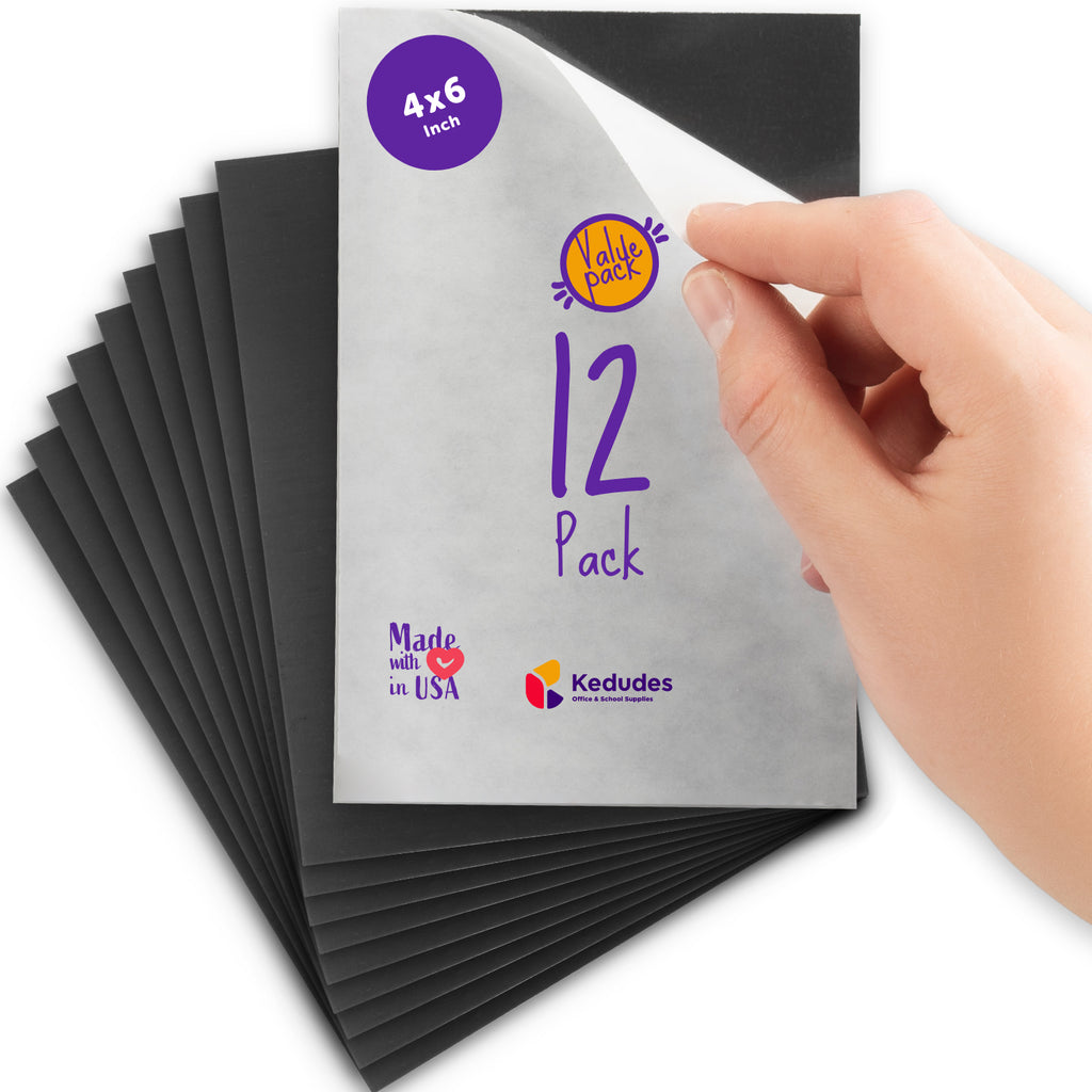 Pack of 12 | 4x6  Flexible self Adhesive Magnetic Sheets - Peel and Stick, Cuts to Any Size. works Great for Pictures