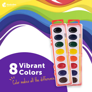 Watercolor paint set for kids - 10 sets of 8 color semi-moist watercolor paint palette and paintbrush kits - includes 10 extra paint brushes