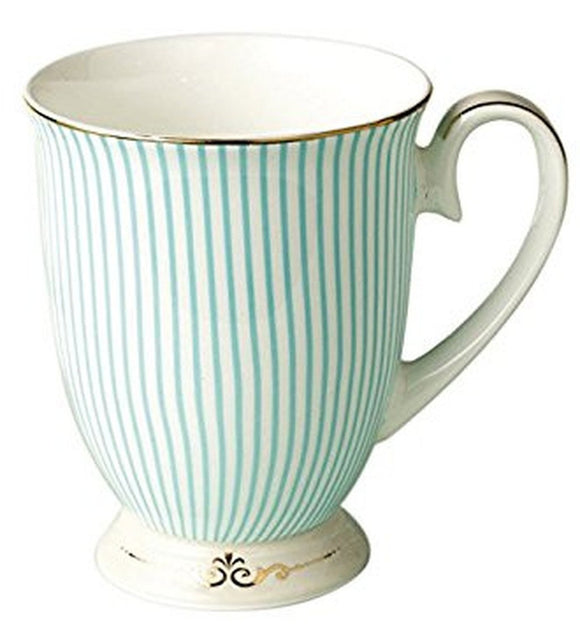 Bone China Teal Striped Coffee Mug-Kook Store-Kook Store