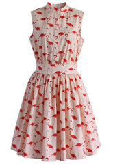 Flamingo Print Sleeveless Summer Dress