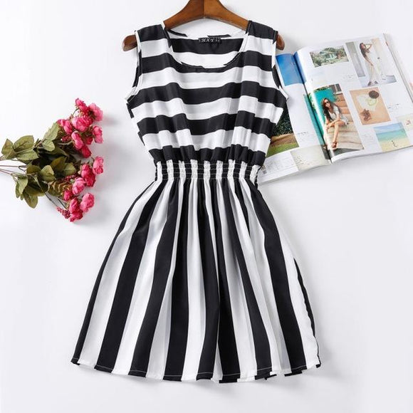 Black and White Striped Chiffon Dress