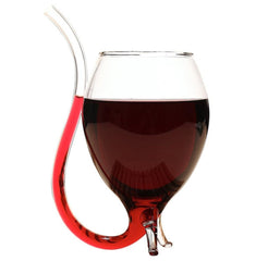 300ml Wine Glass with Built in Drinking Tube Straw
