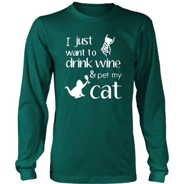 Drink Wine & Pet Cat - Unisex Long Sleeve