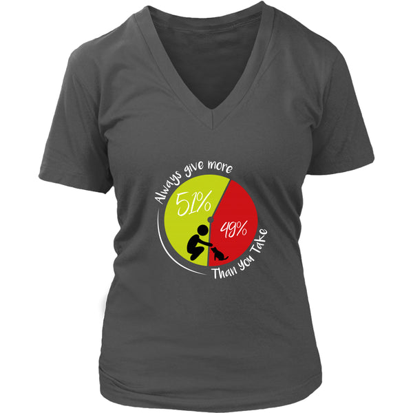 T-shirt - 51/49 - Always Give More - Women's V-Neck