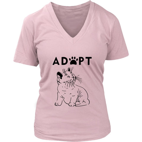 T-shirt - Adopt Kitty - Women's V-Neck
