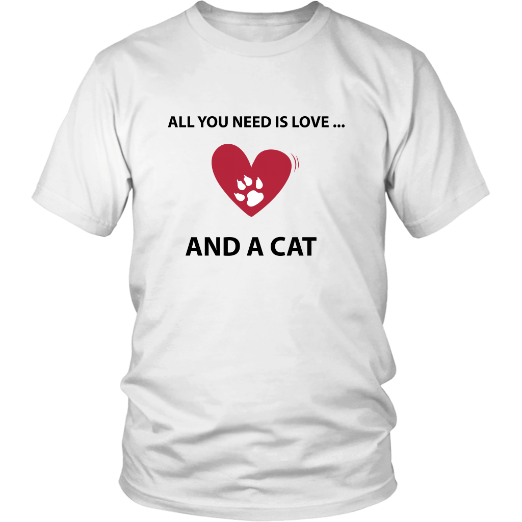 T-shirt - All You Need Is Love... And A Cat - Unisex Tee