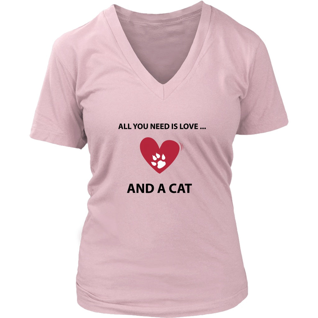 T-shirt - All You Need Is Love... And A Cat - Women's V-Neck