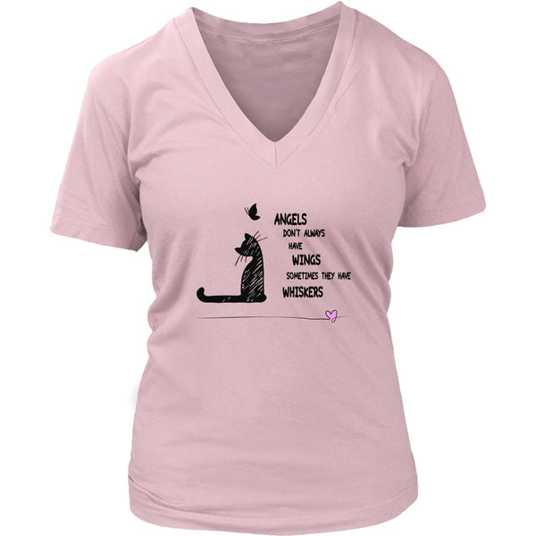 T-shirt - Angels With Whiskers - Women's V-Neck