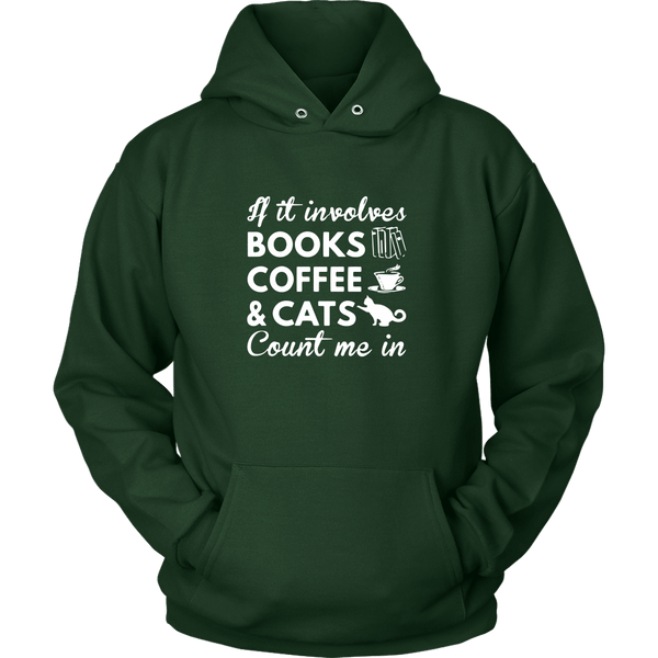 T-shirt - Books, Coffee & Cats - Hoodie