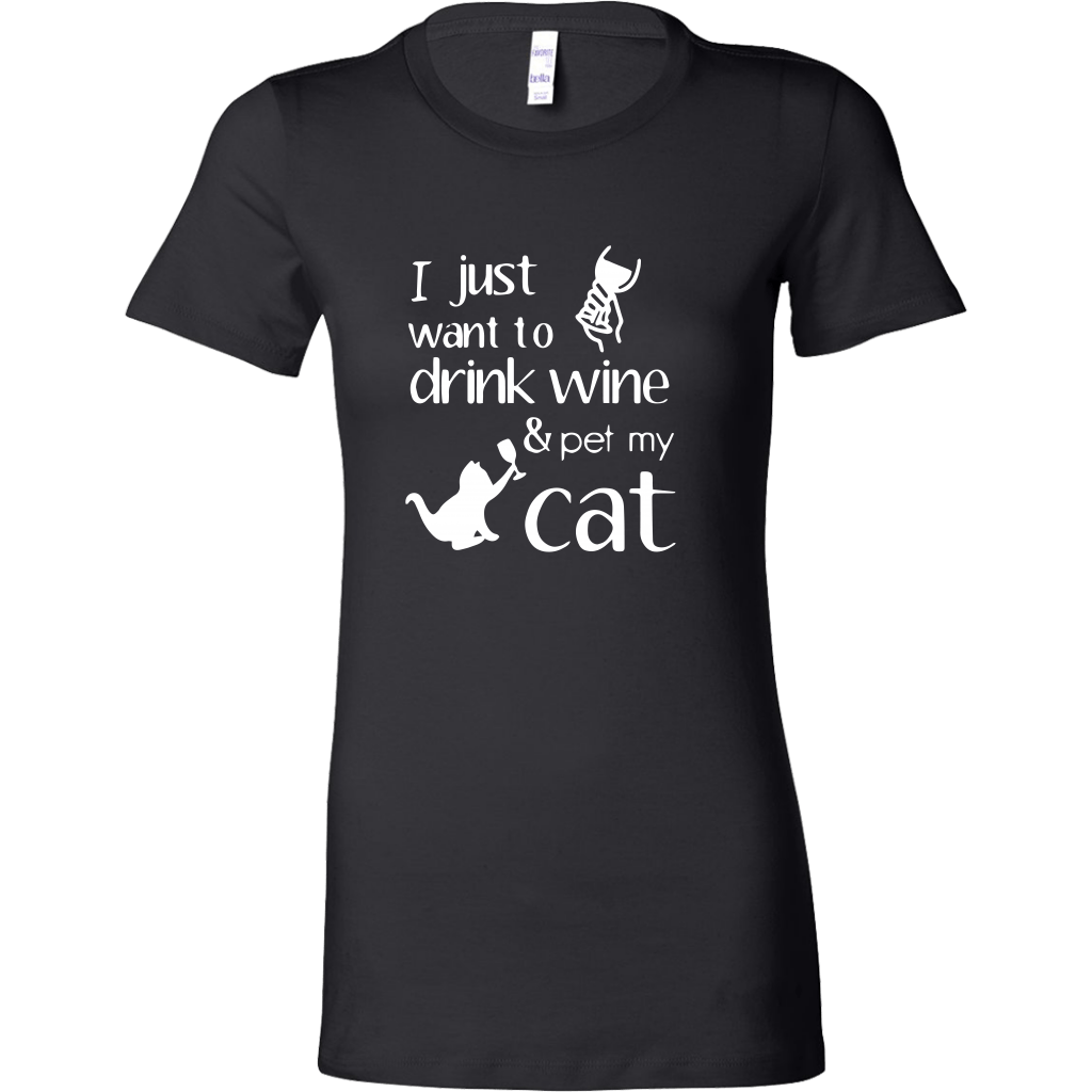 T-shirt - Drink Wine & Pet Cat - Women's Crewneck
