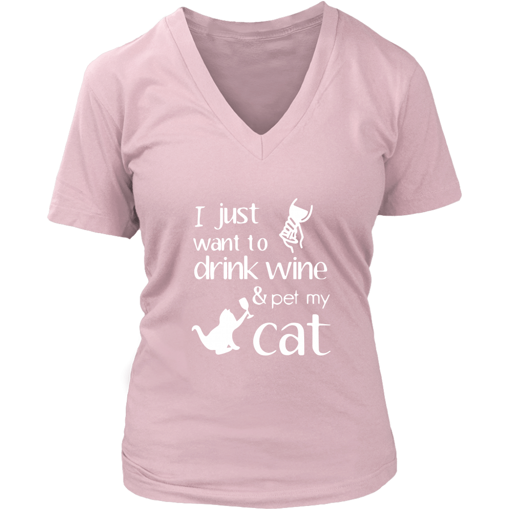 T-shirt - Drink Wine & Pet Cat - Women's V-Neck