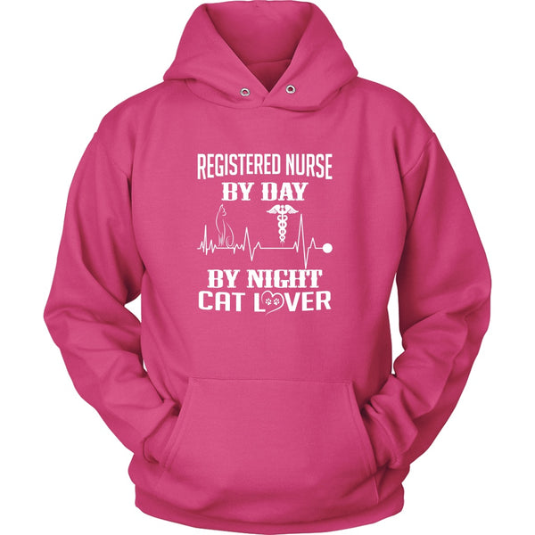 T-shirt - Registered Nurse By Day, Cat Lover By Night - Hoodie