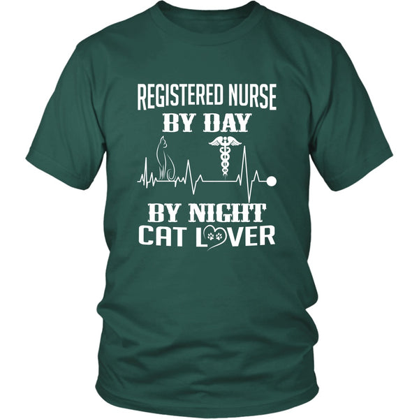 T-shirt - Registered Nurse By Day, Cat Lover By Night - Unisex Tee