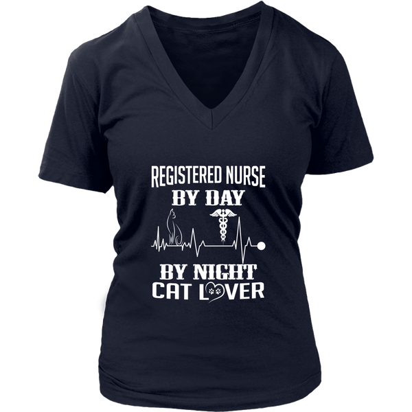 T-shirt - Registered Nurse By Day, Cat Lover By Night - Women's V-Neck