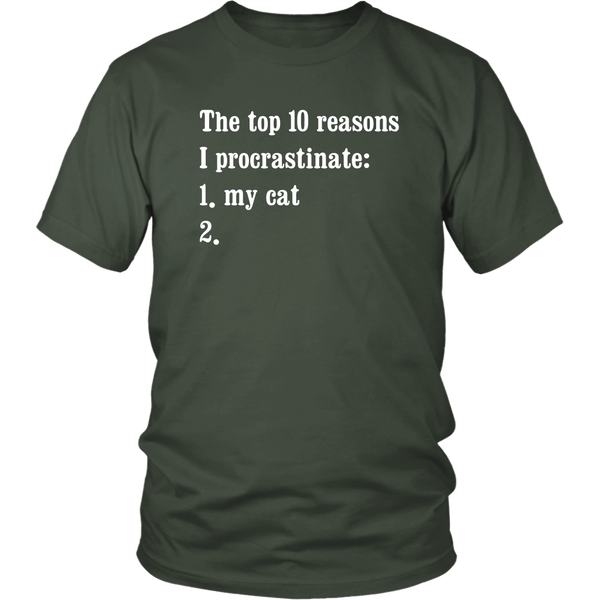 T-shirt - The Top 10 Reasons I Procrastinate - Unisex Tee