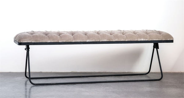 Taupe Velvet Upholstered Fold-able Bench