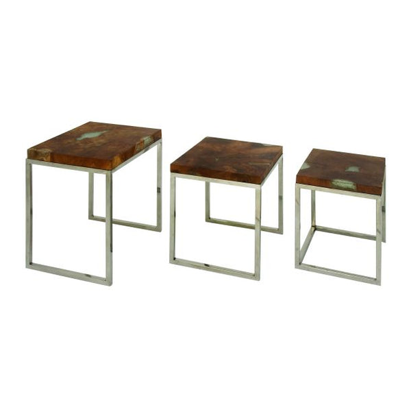 Teak & Stainless Steel Nesting Table