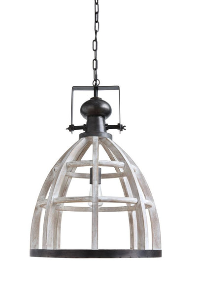 Metal & Wood Cage Pendant Lamp
