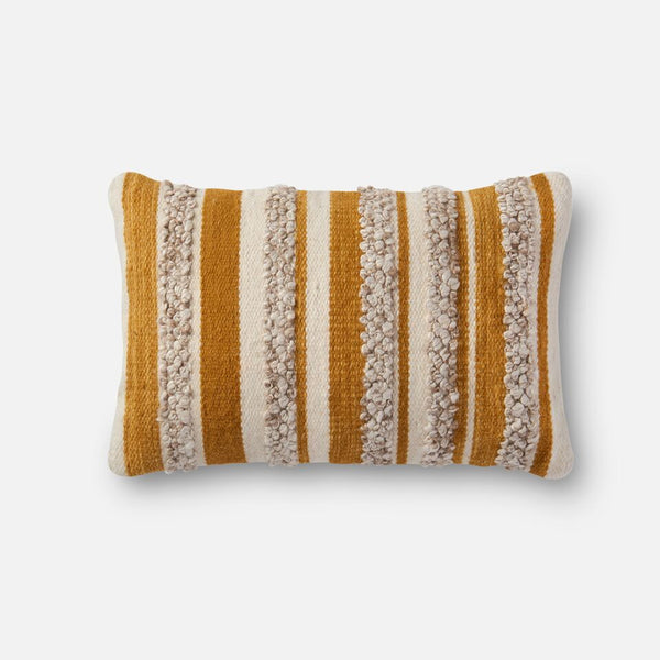 Magnolia Home Striped Gold/ Ivory Kidney Pillow