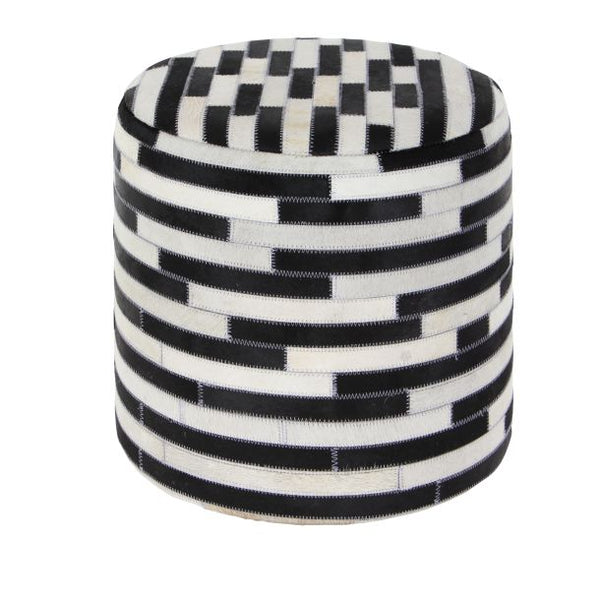 Black & White Leather Stool