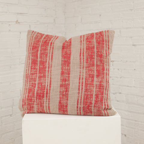 Red/Natural Striped Cotton Pillow