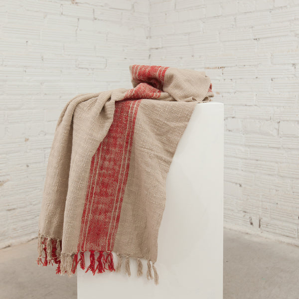 Red/ Natural Striped Throw with Fringe