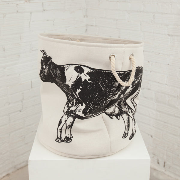 Canvas Hamper Basket Cow