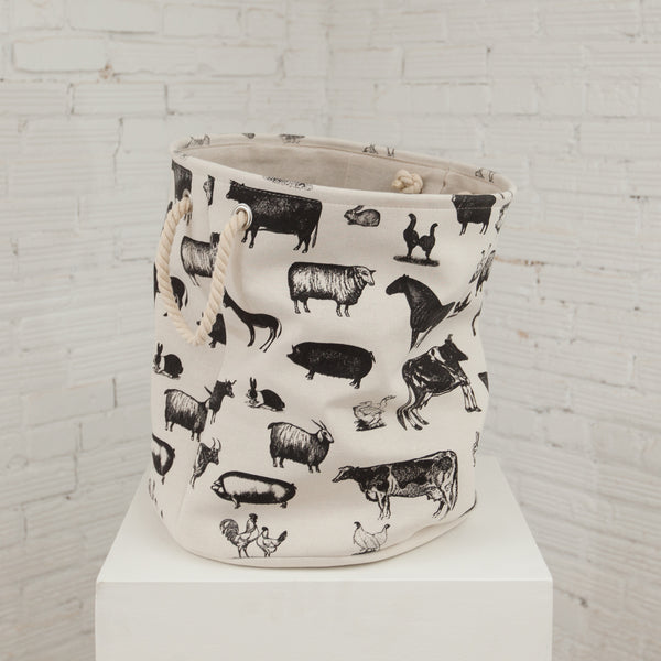 Canvas Hamper Basket Farm Animals