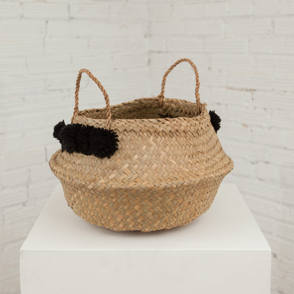 Wicker Basket with Pom-Poms