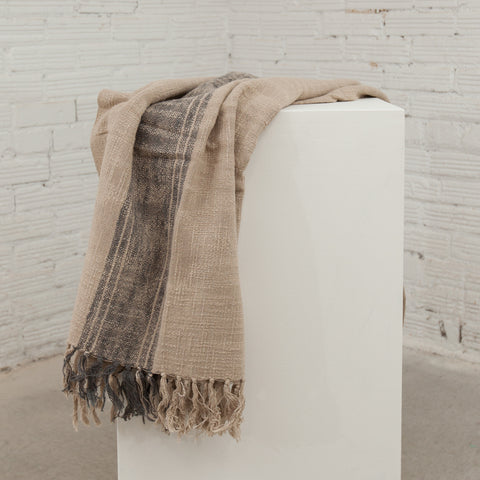 Charcoal/Natural Striped Throw with Fringe