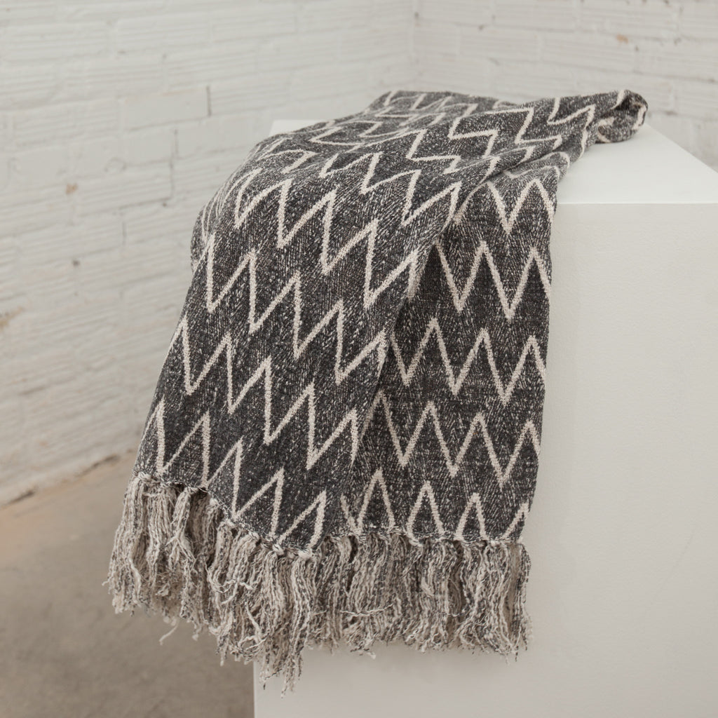 Cotton Throw w/ Chevron Print